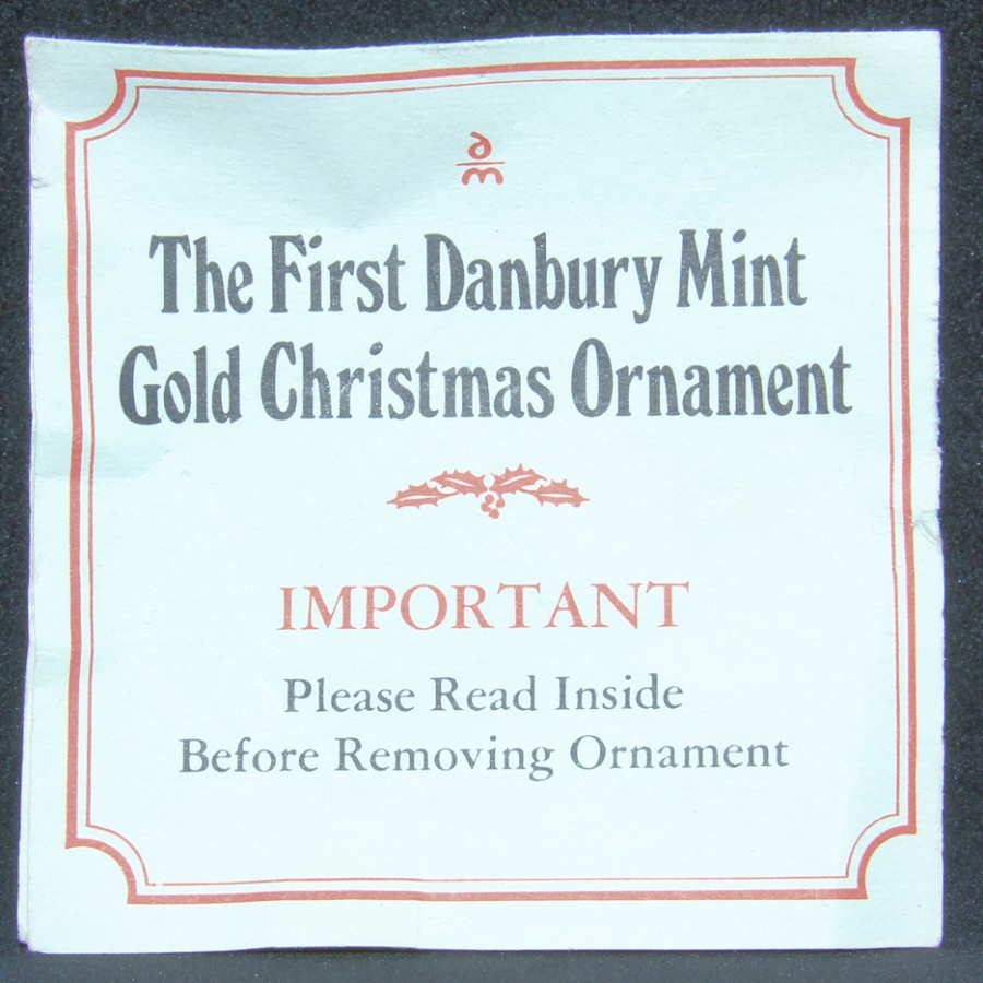 1976 - First Ornament Certificate